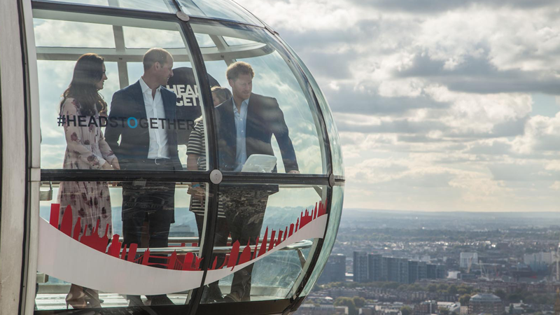 The Duke and Duchess of Cambridge and Prince Harry on the London Eye